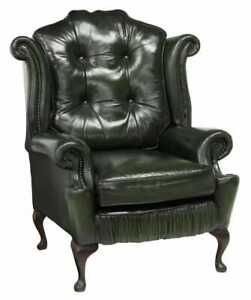 Armchair, Queen Anne Style, Green Leather Wingback, Tufted, Nail Head Trim!!