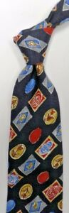 Abstract Floral Blue Silver Red Silk Tie