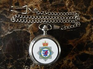 AVON AND SOMERSET POLICE CHROME POCKET WATCH WITH CHAIN (NEW)