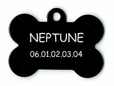 medaille gravee chien ou chat - modele grand os neptune - noire