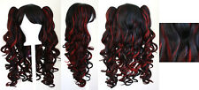 20'' Lolita Wig + 2 Pig Tails Set Black, Red Mix Blend Cosplay Gothic Sweet NEW