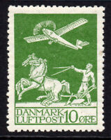 Denmark 10 Ore Air Mail Stamp Mounted Mint Hinged (tiny gum tone) (2273)