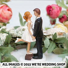 Wedding Cake Topper Couple In Love Bride Groom Kissing Honeymoon Travel Suitcase