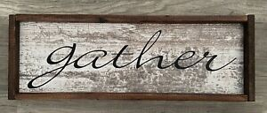 NEW Gather Rustic Wall Sign Present Barnboard 9x25inches Brwn Kitchen Fall Decor
