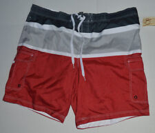 Op Mens 3X 48-50 Red/Grey/Black Striped Board Swim/Swimming Shorts/Trunks~632
