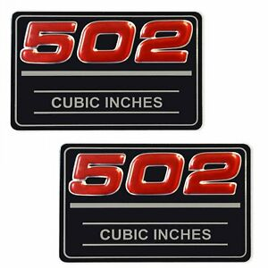 2x Chevrolet 502 Cubic Inches Valve Cover Metal Insert Decal GM # 12393653 Pair