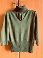 Vertical Design 2-Ply 100% Cashmere Sweater Turtleneck Dark Green Size M