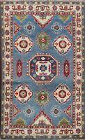 Geometric Tribal Super Kazak Oriental Area Rug Hand-knotted Vegetable Dye 3'x4'