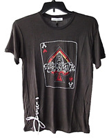 Daydreamer Women's Size S Black Aerosmith Ace Lace Up Paper Thin Black T Shirt