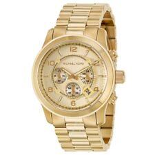 Michael Kors Original MK8077 Men's Runway Oversized Gold Chrono Watch 45mm