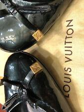 LOUIS VUITTON 39.5 US 9.5 Ballet Flats GOLD LV LOGO Dark Green Patent Authentic