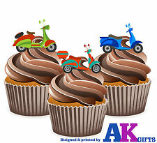 Vespa Scooters Bike Mods 60's 12 Edible Stand Up Cup Cake Toppers Decorations
