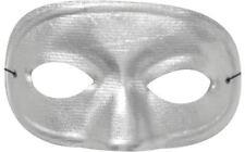 Morris Costumes Domino Metallic Look Thin Elastic Band Silver Half Mask. TI60SV