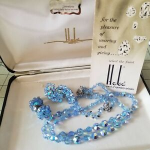 Vtg Signed HOBE Blue AB Faceted Glass Crystal Necklace 2 Pr Earrings SET w/ BOX