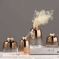 Glass Vase Gold Flower Vases For Home Decor Flower Bottle Restaurant Decoration