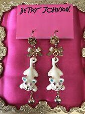 Betsey Johnson Vintage Dream Closet White Cat Gold Rose Bow Heart Earrings RARE