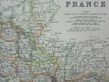 1910 MAP ~ FRANCE ~ ENVIRONS OF PARIS ~ SOMME LOT CORREZE LOIRE CORSICA