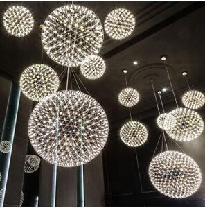 Stainless Steel Frame Round Ball Chandelier Ceiling Pendant Light Fireworks