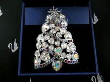 SIGNED SWAROVSKI CRYSTAL CHRISTMAS TREE  PIN~BROOCH RETIRED NEW IN BOX
