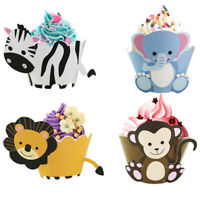 12pcs Cake Wrapper Animals Cupcake Topper Birthday Party Kids Baby Shower Supply