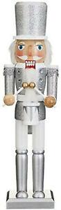 New Glitter Silver Nutcracker Soldier Free Standing Festive Inspired Design 38cm