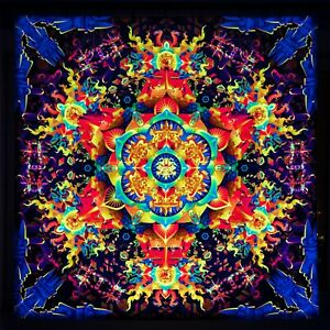 Psychedelic Wall Hanging, UV Mandala, Blacklight Esoteric Backdrop, Psy Art