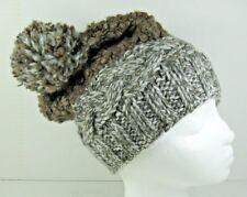 Hat Woolrich $20 NEW White Brown Stretch Crochet Knit Pom Pom One Size WS40