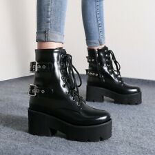 Womens High Heel Chelsea Ankle Boots Platform Biker Punk Outdoor Round Toe Shoes
