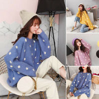 Women Autumn Winter Dots Decor Sweater Soft Candy Color Casual Sweater Fashion