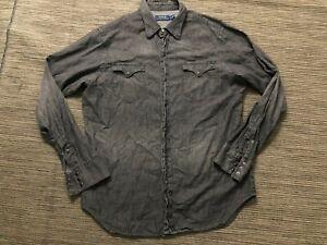 Polo Ralph Lauren Mens Large Western Snap Button Up Denim Shirt