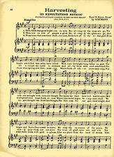 """Vtg MANHATTANVILLE COLLEGE SACRED HEART song sheet  """"HARVESTING"""" c 38 NEW YORK"""