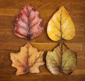 """Set of 4 Autumn Juliska Forest Walk 7"""" Leaf Cocktail Plates Thanksgiving Harvest"""