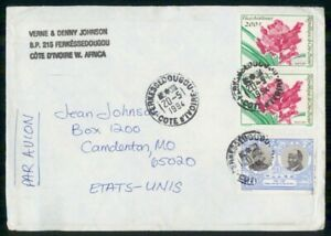 Mayfairstamps Ivory Coast 1994 to Comdenton MO Flower Block Cover wwi_87563
