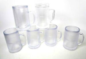 Double Wall Ice Freezer Beer Soda Iced Tea Pop Frosty Mug 12 Oz Set (6) Clear
