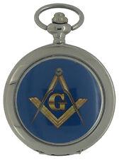 New Freemason Masonic Mechanical Silver Case Pocket Watch And Chain