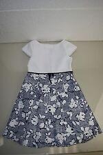 New Oscar de la Renta Girl's White Navy Floral Cotton Pleated Dress 8 Years Rare