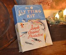 Vintage Universal Vise Fly Tying Kit Fishing Flies Feather Furs String Orig Box