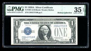 DBR 1928-A $1 Silver Funnyback Fr. 1601 CB Block PMG 35 EPQ Serial C58417719B