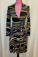 Diane von Furstenberg DVF T72 Blue Swirl Silk Wrap Dress 6 S M