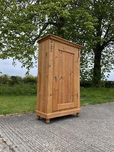 Antique European Stripped Pine Hall Storage Larder Linen Cupboard Wardrobe