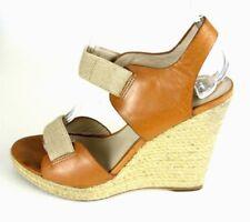 Michael Kors Women's Wedge Heels 7M Tan/Brown Open Toe Sandals #1008
