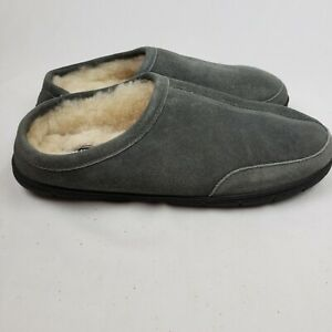 Lands End Mens Suede Leather Shearling Fur Clog Slippers Gray Size 10M NWOT