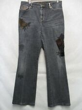 A6945 Ralph Lauren Black Stretch w/Velvet Patches Very Cool Jeans Women 32x29