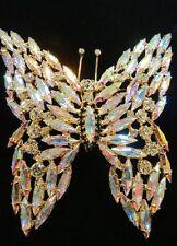 2DIE4 Large Vintage 90'S Aurora Borealis AB Rhinestone Butterfly Brooch PIN