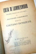 Opera Lirica Teatro - G. Donizetti: Lucia di Lammermoor 1930 Ricordi Cammarano