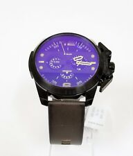 DIESEL IRONSIDE BLACK,IRIDESCENT BLUE DIAL,BROWN LEATHER COMPASS,WATCH-DZ4364