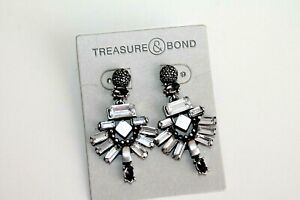 Treasure & Bond Earrings silver plated Cluster Crystal post women's
