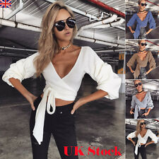 UK Womens Long Sleeve Deep V Neck Knitted Sweater Ladies Casual Jumper Crop Tops