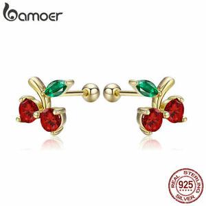 BAMOER Genuine 925 Sterling silver Golden Women Earrings Cherry & Red CZ Jewelry