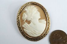 VINTAGE 9ct GOLD CARVED SHELL CERES / DEMETER CAMEO BROOCH